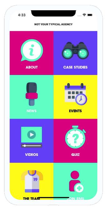 RMS App home screen