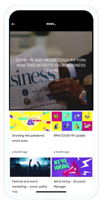 RMS App news screen